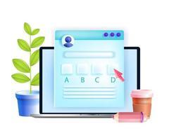 Online-Prüfung, Internet-Test, Distanz-Quiz-Vektor-Bildungskonzept, Laptop-Bildschirm, Fragebogen. digitale Umfrage, Umfrage mit Fragen, Antwortfelder. E-Learning Online-Schule, Kurse Prüfungsillustration vektor
