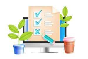 Online-Umfrage, Internet-Fragebogen, Web-Feedback, Bildungstest-Vektorkonzept, Computerbildschirm. digitaler Quizbericht, Marktforschung, Illustration zur Qualitätsprüfung. Online-SMM-Umfrage, Kontrollkästchen vektor