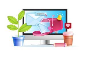 e-posttjänst, nyhetsbrev prenumeration vektor webbkoncept, datorskärm, brevlåda, kuvert, brev. smm-företag, e-postmarknadsföring, digital nätverksdesign. e-posttjänst 3d illustration