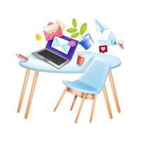 Vektor E-Mail Digital Business Marketing Web Social Media Illustration, Büroarbeitsplatz, Tisch, Laptop. Online-Kommunikation, Internet-Netzwerk-Konzept, Umschlag. Newsletter abonnieren E-Mail-Marketing