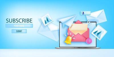 Abonnieren Sie die E-Mail-Newsletter-Vektor-Webseitenvorlage, das Social-Media-Marketing-Banner und den Laptop-Bildschirm. Geschäft monatlicher Werbebrief Hintergrund, geöffneter Umschlag. Newsletter 3D-Konzept abonnieren vektor
