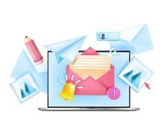 Abonnieren Sie monatlich Newsletter Vektor Internet Business isoliert Konzept, Laptop, Heimarbeitsplatz. 3D-Illustration des Online-Marketings, Benachrichtigungsglocke, offene Umschläge. Newsletter-Webdesign abonnieren