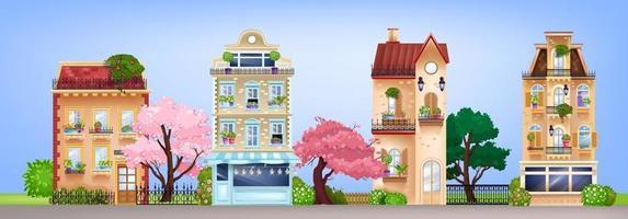 Vektorhausfassaden, Straßenillustration der Vintagen Gebäude mit Retro-Wohnhäusern, blühende Bäume. Europäischer alter viktorianischer Hintergrund mit Vitrinen, Fenstern, Dächern. Hausfassaden Vorderansicht vektor
