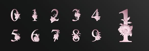rosa romantische schöne Zahlendekoration für Hochzeit mit Blume vektor