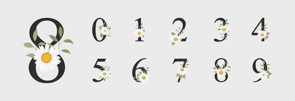 schöne Zahlendekoration für Hochzeit mit Blume vektor