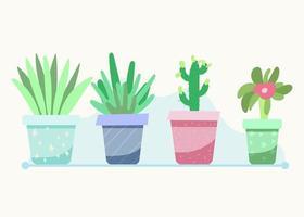 Satz Zimmerpflanzen in Töpfen vektor