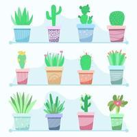 große Menge Zimmerpflanzen in Töpfen vektor