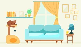 mysigt vardagsrum med en katt vektor