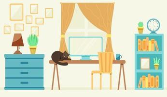 gemütliches Büro mit einer Katze auf dem Tisch vektor