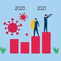 affärs platt vektor koncept illustration. affärsmän håller viruset och analyserar framtiden.