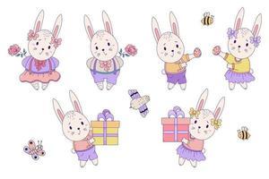 Satz helle niedliche Tiere - Osterhase und Insekten. Kaninchen - ein Mädchen und ein Junge mit einer großen Geschenkbox, einem Osterei und einer Blume. Vektorillustration. isoliert. für Design Happy Easter vektor