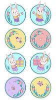 uppsättning söta djur och insekter. kaniner - pojke och flicka med påskägg och gåvor, fjäril och fågel på en rund blommig bakgrund. vektor illustration. Grattis påsk och Grattis på födelsedagen