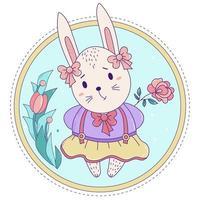 söt kanin. påskkaninflicka med rosetter och i en kjol med en ros på en dekorativ blommig bakgrund. vektor illustration. lycklig påsk gratulationskort, födelsedag, för tryck och design