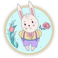 söt kanin. påskharen pojke i byxor på hängslen med en ros på en dekorativ blommig bakgrund. vektor. för gratulationskort med påsk och födelsedag, design och dekoration, tryckning och dekoration vektor