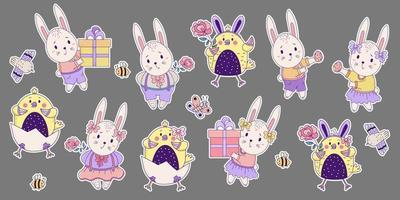 Satz von farbigen Aufklebern von niedlichen Tieren und Insekten. Osterhasen und Hühner - ein Mädchen und ein Junge mit einer großen Geschenkbox und einer Blume, einem Vogel, Bienen und einem Schmetterling. Vektor. für Design Happy Easter vektor