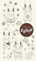 Set skizzierte Ostern. süße Hasen Mädchen und Jungen mit Ostereiern in ihren Pfoten, Vögeln und Schmetterlingen und Bienen. Vektor. schwarze Linie, Umriss. niedliche dekorative Zeichnungen für glückliches Ostern vektor