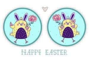 ett par söta fåglar. påsk kycklingar flicka och pojke med kaninöron och med en ros på en dekorativ rund bakgrund. vektor illustration. färgglada glad påsk gratulationskort