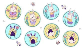 Satz niedliche Ostertiere. Kaninchenmädchen und -junge mit Ostereiern und einer Rose und Hühnern, die in einem Ei in einer runden dekorativen Form mit einem Blumenmuster sitzen. Vektorillustration. glückliche Osterkarte vektor