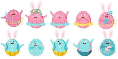 Frohe Ostern. Satz farbige Ostereier mit Gesicht, Augen und Händen und verschiedenen Emotionen. Die Charaktere sind ein Junge und ein Mädchen in Rock und Hose, mit Blumen und Hasenohren und einem Herzen. Vektor
