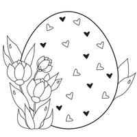Osterkarte. großes Osterei mit Herzen und einem Strauß Frühlingsblumen und Blätter. Vektor. schwarze Linie, Umriss. Illustration für Design, Dekor, Druck, Postkarten für fröhliche Ostern vektor