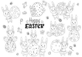 Vektor Ostersammlung mit niedlichen Osterhasen. eine Familie von Hasen mit einem großen Osterei, Kindern - Jungen und Mädchen, Osterdekor und Blumen, Vögeln und Insekten. für Dekor, Design, Druck und Postkarten