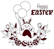 lyckligt påskkort. påsk kyckling med kaninöron på huvudet, med påskägg, ballonger och en bukett blommor. vektor. skissad påsk, disposition. för design, dekor, tryck, semesterkort, banderoller