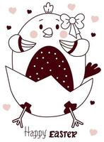 Osterkarte mit einem niedlichen geschlüpften Huhn - ein Mädchen mit einem Bogen. Vektorillustration, Linie. niedliche Skizze für Grußkarten - fröhliche Ostern, Design, Dekor, Druck, Dekoration und Banner vektor