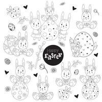 uppsättning skissade påsk. söta kaniner flickor och pojkar, påskägg, blommor och påsk dekor. vektor illustration. svart linje, kontur. söta dekorativa ritningar för design glad påsk