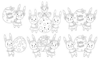 uppsättning påskskisser med söta påskkaniner och ett stort påskägg. djurfamilj - en flicka, en pojke och en bebis. vektor illustration. linje, disposition. dekorativa teckningar för design glad påsk