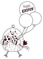 lyckligt påskkort. påsk kyckling med påskägg och ballonger. vektorritning, skissad påsk. linje, disposition. kort för semesterhälsningar, design, dekor, tryck, semesterkort och banderoller