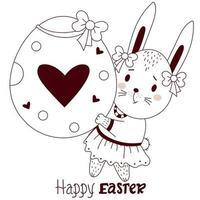 glückliche Osterkarte mit Osterhase. ein süßes Hasenmädchen mit einem großen Osterei in ihren Pfoten und Bögen auf ihren Ohren. Vektor, Umriss. niedliches Tier für glückliches Osterdesign vektor