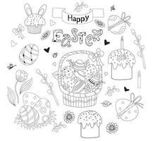 uppsättning påskklotter - korg med påskägg, muffin, påskharen, blommor och löv, pusspil och tulpaner, festlig inredning. vektor. linje, disposition. söt dekor för påsk design, tryck, vykort vektor