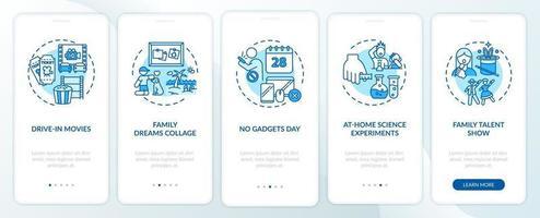 Familienspaß Ideen Onboarding Mobile App Seite Bildschirm mit Konzepten vektor