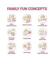 Familienspaß-Konzeptikonen eingestellt vektor