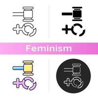 Frauenfeindlichkeits-Symbol. Schutz der Rechte von Frauen. Bestrafung von Vergewaltigern. soziale Gerechtigkeit schaffen. Feminismus. Gleichstellung der Rechte. lineare Schwarz- und RGB-Farbstile. isolierte Vektorillustrationen vektor