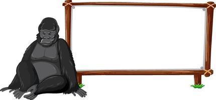 Gorilla mit Holzrahmen horizontal lokalisiert auf weißem Hintergrund vektor