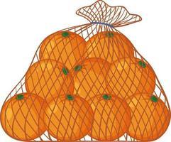 apelsiner i nätpåse tecknad stil isolerad på vit bakgrund vektor