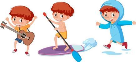 uppsättning av en pojke seriefiguren gör olika aktiviteter vektor