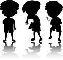 uppsättning barn silhuett med reflex på vit bakgrund vektor