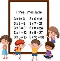 tre gånger bord med många barn seriefigur vektor