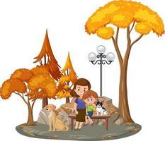 lycklig familj i parken vektor
