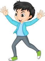 Zeichentrickfigur eines glücklichen Jungen, der Hände nach oben drückt vektor