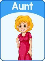 pädagogische englische Wortkarte der Tante vektor