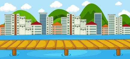 horizontale Szene mit Fluss- und Stadtbildhintergrund vektor