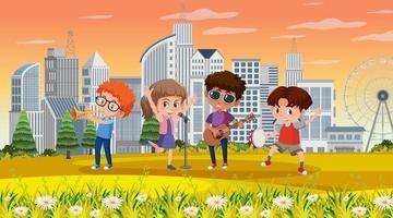 stadsscen med många barn som spelar musikinstrument i parken vektor