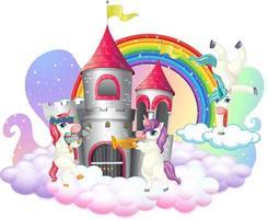 viele niedliche Einhörner-Zeichentrickfigur mit Schloss auf der Wolke vektor