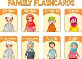 pädagogische englische Wortkarte von Familienmitgliedern vektor