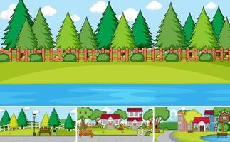 uppsättning av olika utomhushus scener tecknad stil vektor