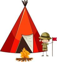 camping tält med doodle barn seriefiguren isolerade vektor