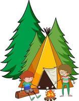 Campingzelt mit Gekritzelkinder-Zeichentrickfigur isoliert vektor